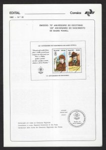 1982 Brazil Boy Scout 75th anniversary SS announcement folder