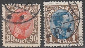 Denmark  #127-8 F-VF Used CV $7.75 (C3982)
