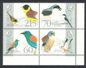 Slovenia Birds 4v Bottom Right Corner Block of 4 SG#264-267 SC#235 a-d