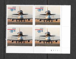 3262 MNH, $11.75, Piggyback Space Shuttle, Plate Block, Free Insured Shipping