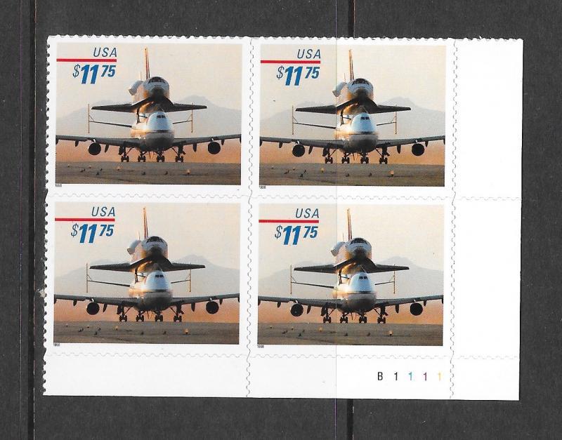3262 MNH, $11.75, Piggyback Space Shuttle, Plate Block, Free Insured Shipping