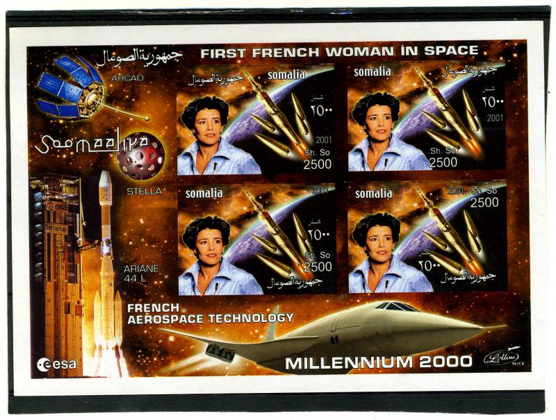 Somalia 2001 French Aerospace Technology Halley's Comet Imperforated mnh.vf