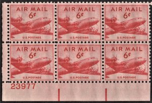 US C39 MNH VF 6 Cent DC-4 Skymaster Plate Block of 6