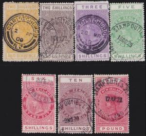 NEW ZEALAND 1880 Stamp Duty 7 values 2/6 to £1 used.........................4730