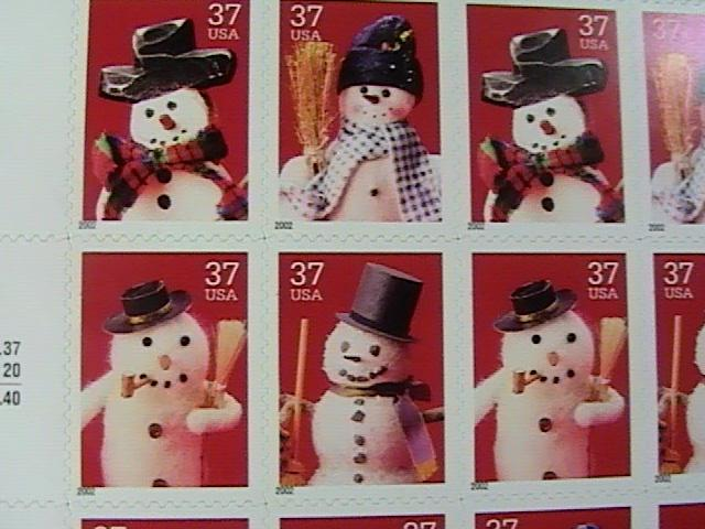 U.S.# 3676-3679(3679a)-MINT/NH--PANE OF 20------CHRISTMAS-----2002