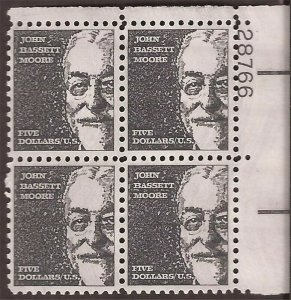 US Stamp - 1973 $5 John Bassett Moore - 4 Stamp Plate Block Tagged #1295a
