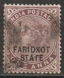 India Faridkot 1887 Sc 4 used small thin