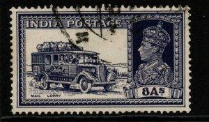 INDIA SG257 1937 8a SLATE-VIOLET USED