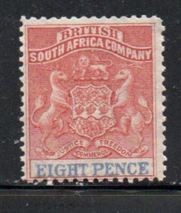 Rhodesia Sc 8 1891 8 d rose & black Coat of Arms stamp mint
