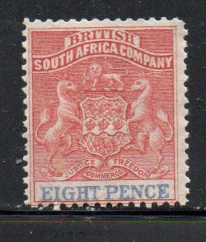 Rhodesia Sc 8 1891 8 d rose & black Coat of Arms stamp mint