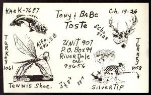 QSL QSO Radio Card Turkey,Tennis Shoe,Echo,Silvertip,Tony,Babe Toste,(Q3149)