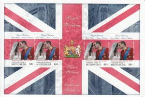 Micronesia Royalty Stamps 2011 MNH Royal Wedding Prince William & Kate 4v M/S II