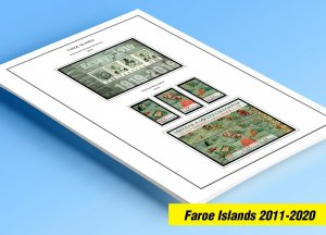 COLOR PRINTED FAROE ISLANDS 2011-2020 STAMP ALBUM PAGES (38 illustrated pages)