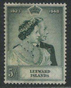 Leeward Islands KGVI 1948 Silver Wedding 5/ mint no gum