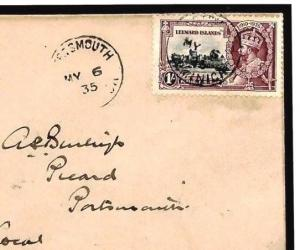 W415b Leeward Islands *1s* KGV SILVER JUBILEE FDC 1935 First Day Cover ROYALTY