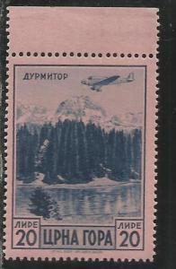 MONTENEGRO 1943 POSTA AEREA AIR MAIL SERTO DELLA MONTAGNA LIRE 20 MNH