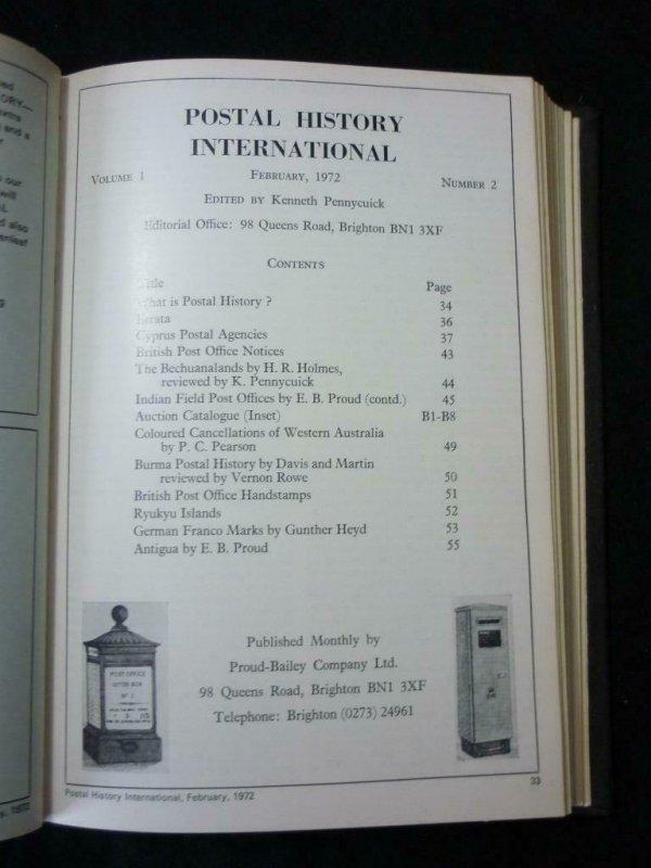POSTAL HISTORY INTERNATIONAL No's 1-12 JAN-DEC 1972 BOUND
