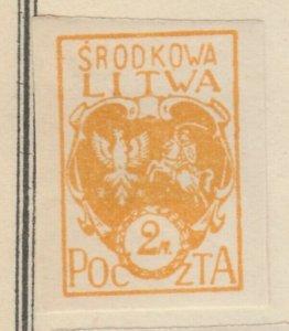 Central Lithuania Mittellitauen Lituanie Lituania 1921 2m MH* A8P11F136