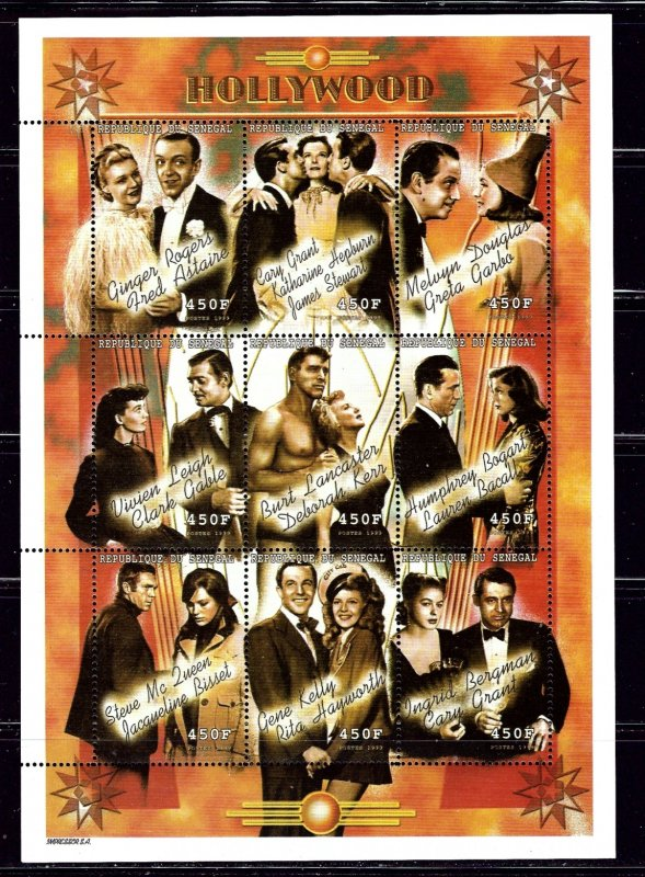 Senegal 1425 MNH 1999 Well-known Movie Couples  sheet of 9