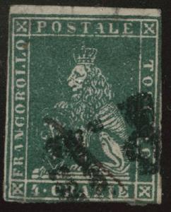 Tuscany Scott 14 green used 1857 wmk 184  CV$225