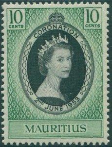 Mauritius 1953 SG291 10c black and green Coronation QEII MNH