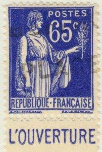 FRANCE - 1937 Pub CCP (L'OUVERTURE) sur Yv.365b 65c Paix - Obl. TB (B2)