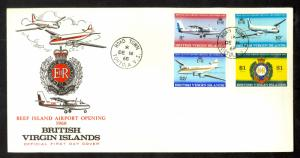 BRITISH VIRGIN ISLANDS 1968 BEEF ISLAND AIRPORT Set Cachet FDC Sc 194-197