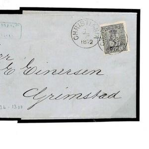 F77d Norway 3sk Grey 1872 Cover Exhibition Quality EL Entire Letter {samwells}