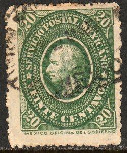 MEXICO 158, 20cents HIDALGO MEDALLION. USED. F. (52)