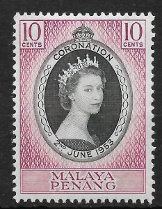 MALAYA PENANG SG27 1953 CORONATION MTD MINT