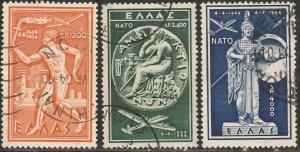 GREECE C71-C73, NATO FIFTH ANNIVERSARY, USED. F-VF. (431)