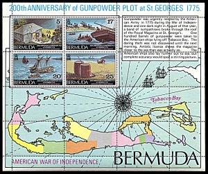 Bermuda 332a, MNH, USA War of Independence souvenir sheet