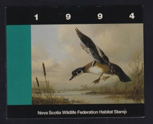 Canada (Nova Scotia) VD #NSW3 (1994) Wildlife Duck Stamp Revenue Booklet