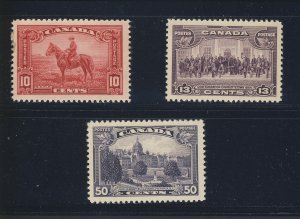 3x Canada Stamps #223-10c #224-13c & #226-50c All MH VF Guide Value = $60.00