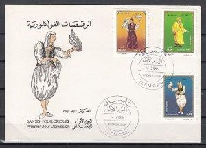 Algeria, Scott cat. 1026-1028. Folk Dancers-Costumes issue. First day cover. ^