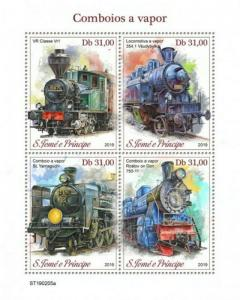 St Thomas - 2019 Steam Trains - 4 Stamp Sheet - ST190205a