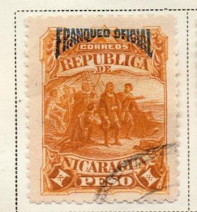 Nicaragua 1892 Early Issue Fine Used 1P. Official Optd 323712