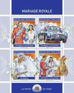 Togo - 2018 British Royal Weddings - 4 Stamp Sheet - TG18409a