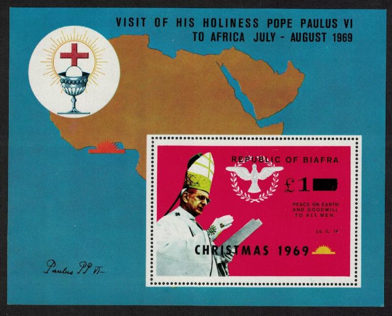 Biafra Visit of Pope Paul VI to Africa MS Overprint 'Christmas 1969' MI#Block 3A