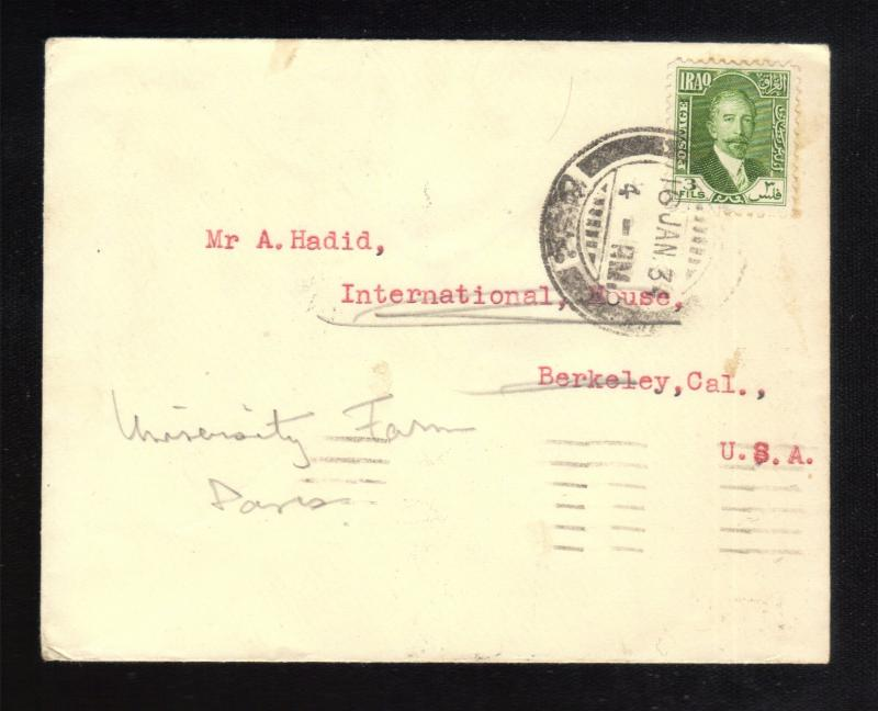 1934 IRAQ BAGHDAD SCOTT #45 POSTAL COVER TO USA(3FIL STAMP):