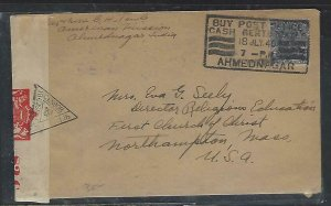 INDIA (PP0711B) 1940 KGV 3A 6P CENSORED COVER, SLOGAN CANCEL TO USA