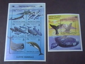 TRISTAN da CUNHA # 718-719-MINT/NH--SHEET OF SIX + SOUVENIR-SHEET---QEII---2002