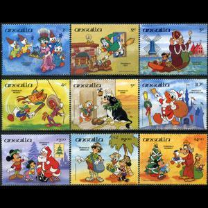 ANGUILLA 1984 - Scott# 596-604 Disney-Xmas Set of 9 NH