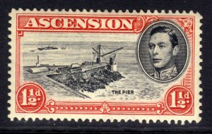 Ascension Island 1938 - 53 KGV1 1 1/2d Black & Rose Carmine MM SG 40f ( R340 )