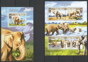 ST995 2015 GUINEA-BISSAU ANIMALS FAUNA WILD ELEPHANTS KB+BL MNH STAMPS