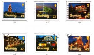 Guernsey Sc 750-5 2001 Christmas Lights stamp set used