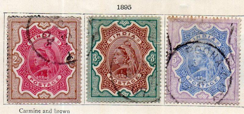 INDIA- 1895- sg no 107/109  w/m  star  fine used cv 75 gbp ( app 7500.00rs )
