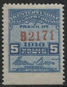 US 1916 Sc 16T49  MLH Western Union Telegraph Co., Serial #B2171, VF