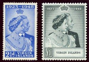 British Virgin Is 1949 KGV Silver Wedding set complete MNH. SG 124-125. Sc 90-91