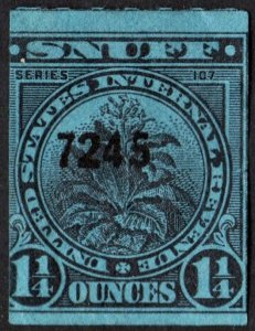 TE507a Snuff Tax Stamp: 1¼ Ounce: Series 107 (1937) Used